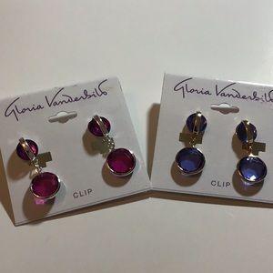 Set of two Gloria Vanderbilt clip on earrings new